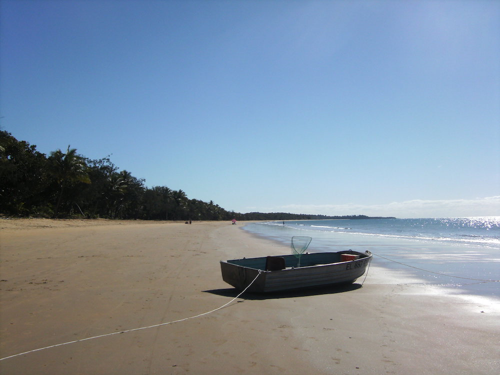 Achtsamkeit, Boot am Strand